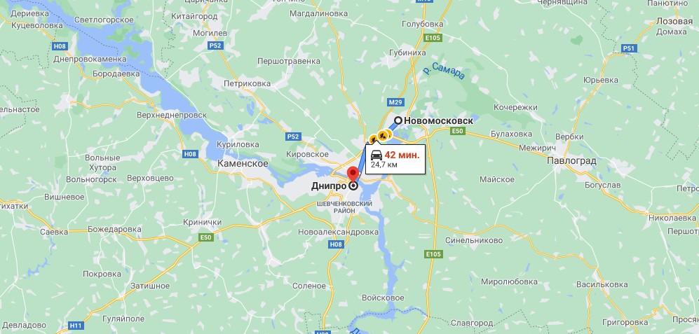 Маршрут: Новомосковск - Днепр